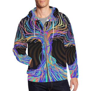 Psycadelic Patterns 5 Men's All Over Print Full Zip Hoodie (Model H14)-All-over Hoodies-JEFAMO