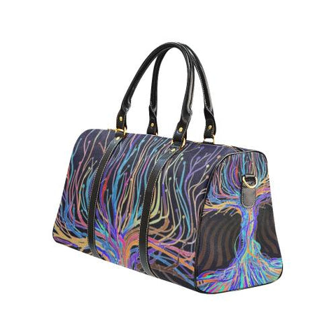 Psycadelic Patterns 5 Travel Bag Black (Small) (Model1639)-Travel Bags-JEFAMO