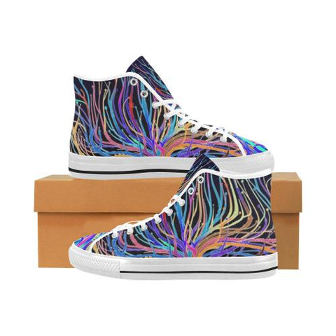 Psycadelic Patterns 5 Vancouver High Top Canvas Men's Shoes (Model1013-1)-Canvas Shoes-JEFAMO