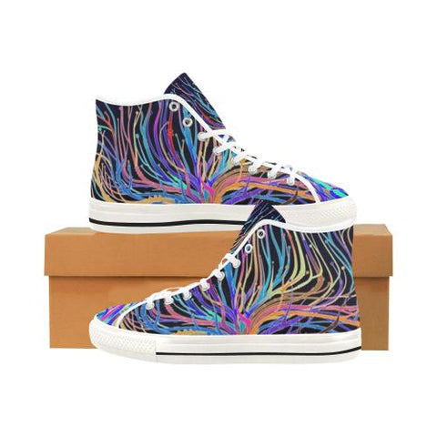 Image of Psycadelic Patterns 5 Vancouver High Top Canvas Women's Shoes (Model1013-1)-Canvas Shoes-JEFAMO
