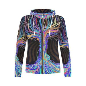 Psycadelic Patterns 5 Women's All Over Print Full Zip Hoodie (Model H14)