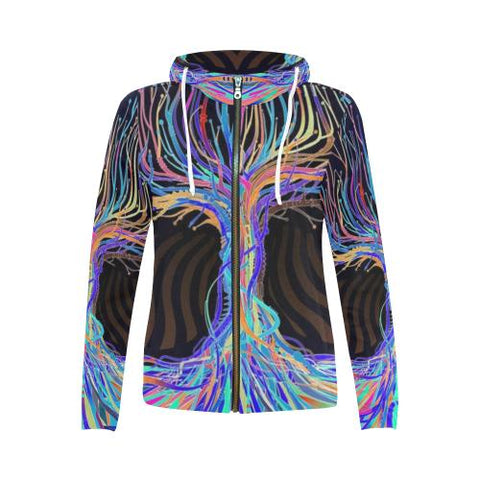 Image of Psycadelic Patterns 5 Women's All Over Print Full Zip Hoodie (Model H14)-All-over Hoodies-JEFAMO