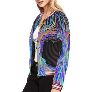 Psycadelic Patterns 5 Women's All Over Print Horizontal Stripes Jacket (Model H21)