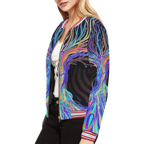 Image of Psycadelic Patterns 5 Women's All Over Print Horizontal Stripes Jacket (Model H21)-Jackets-JEFAMO