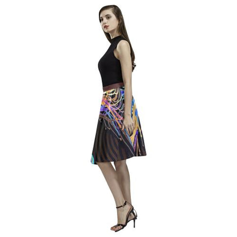 Psycadelic Patterns 5 Women's Pleated Midi Skirt (Model D15)-Skirts-JEFAMO