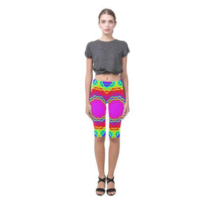Psycadelic Patterns 6 All-Over Cropped Leggings (Model L03)-Leggings-JEFAMO