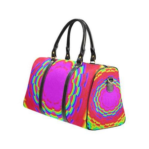 Psycadelic Patterns 6 Travel Bag Black (Small) (Model1639)-Travel Bags-JEFAMO