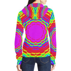 Psycadelic Patterns 6 Women's All Over Print Full Zip Hoodie (Model H14)
