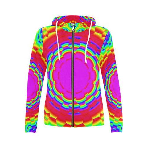 Image of Psycadelic Patterns 6 Women's All Over Print Full Zip Hoodie (Model H14)-All-over Hoodies-JEFAMO