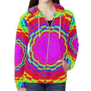 Psycadelic Patterns 6 Women's All Over Print Full Zip Hoodie (Model H14)-All-over Hoodies-JEFAMO