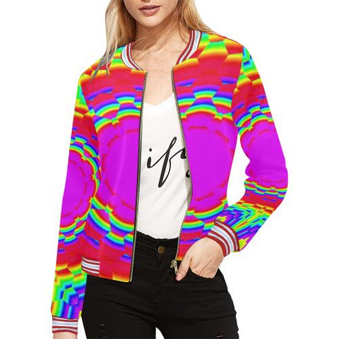 Psycadelic Patterns 6 Women's All Over Print Horizontal Stripes Jacket (Model H21)-Jackets-JEFAMO