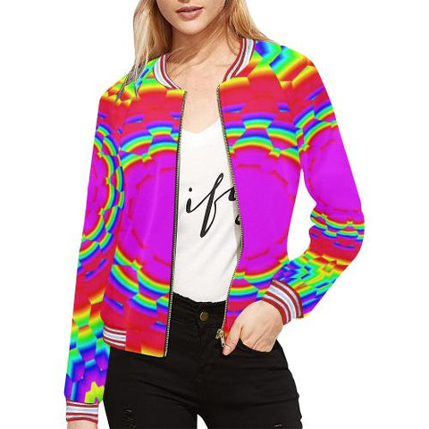 Image of Psycadelic Patterns 6 Women's All Over Print Horizontal Stripes Jacket (Model H21)-Jackets-JEFAMO