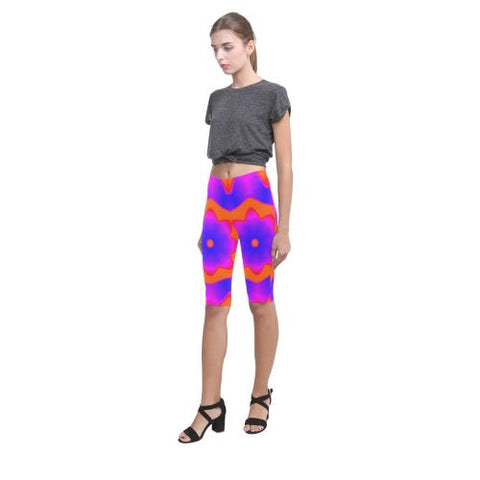 Psycadelic Patterns 7 All-Over Cropped Leggings (Model L03)-Leggings-JEFAMO