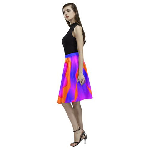 Psycadelic Patterns 7 Women's Pleated Midi Skirt (Model D15)-Skirts-JEFAMO