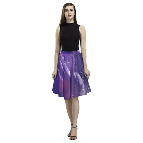 Psycadelic Patterns 8 Women's Pleated Midi Skirt (Model D15)-Skirts-JEFAMO