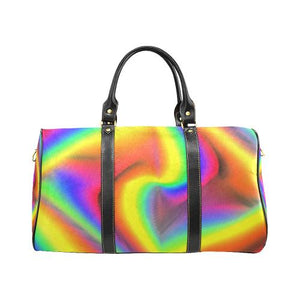 Psycadelic Patterns 9 Travel Bag Black (Small) (Model1639)-Travel Bags-JEFAMO