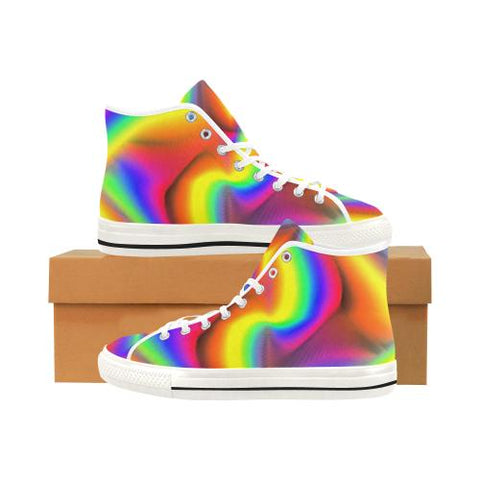 Image of Psycadelic Patterns 9 Vancouver High Top Canvas Women's Shoes (Model1013-1)-Canvas Shoes-JEFAMO
