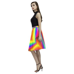 Psycadelic Patterns 9 Women's Pleated Midi Skirt (Model D15)