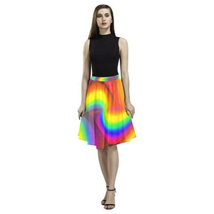 Psycadelic Patterns 9 Women's Pleated Midi Skirt (Model D15)-Skirts-JEFAMO