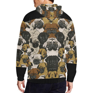 Pug Design 1 Men's All Over Print Full Zip Hoodie