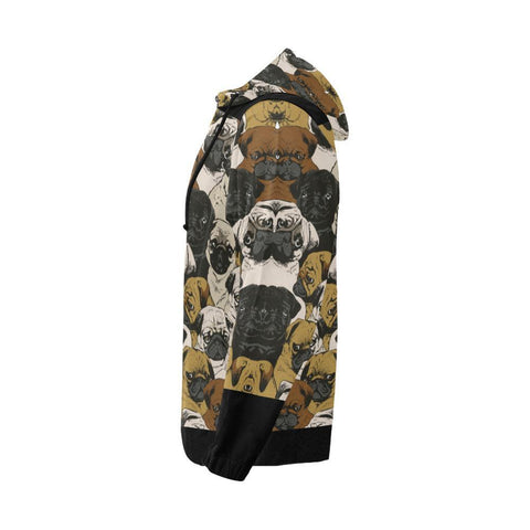 Image of Pug Design 1 Men's All Over Print Full Zip Hoodie-Hoodies-JEFAMO