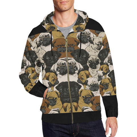 Pug Design 1 Men's All Over Print Full Zip Hoodie-Hoodies-JEFAMO