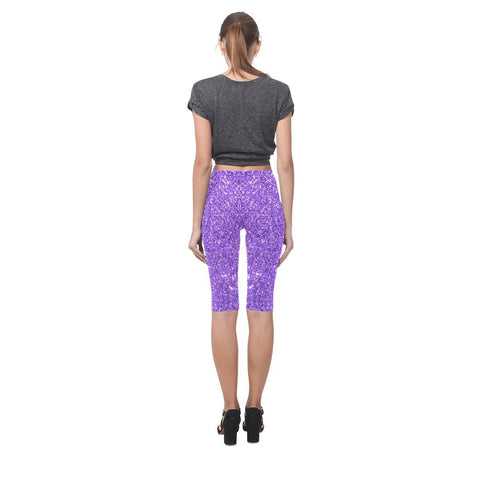 Image of Purple Glitter All-Over Cropped Leggings-Leggings-JEFAMO