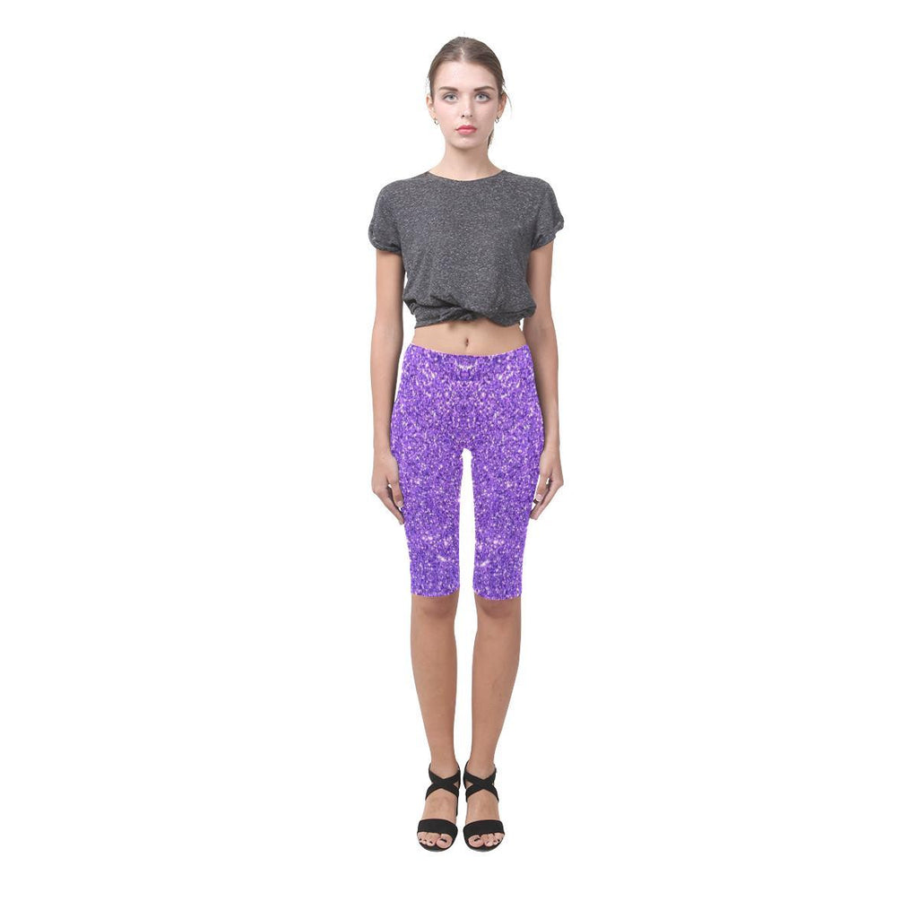 Purple Glitter All-Over Cropped Leggings-Leggings-JEFAMO