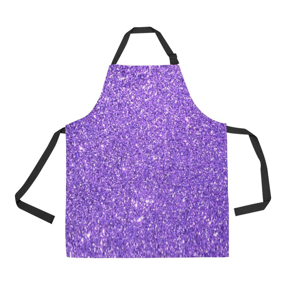 Purple Glitter All Over Print Adjustable Apron-Aprons-JEFAMO