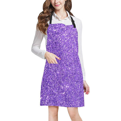 Image of Purple Glitter All Over Print Adjustable Apron-Aprons-JEFAMO