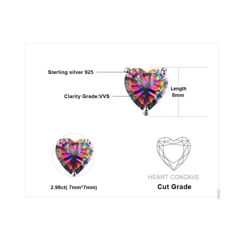 Rainbow Fire Mystic Topaz Heart Earrings 925 Sterling Silver-JP_EARRINGS-JEFAMO