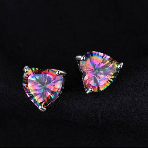 Image of Rainbow Fire Mystic Topaz Heart Earrings 925 Sterling Silver-JP_EARRINGS-JEFAMO