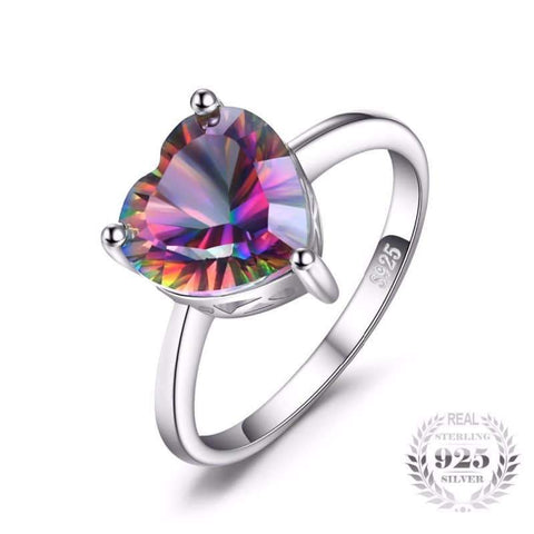 Image of Rainbow Fire Mystic Topaz Heart Ring 925 Sterling Silver-JP_RINGS-JEFAMO