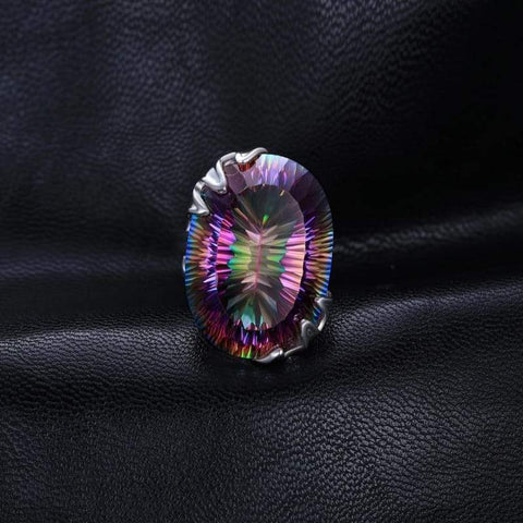 Image of Rainbow Fire Mystic Topaz Vintage Ring 925 Sterling Silver-JP_RINGS-JEFAMO