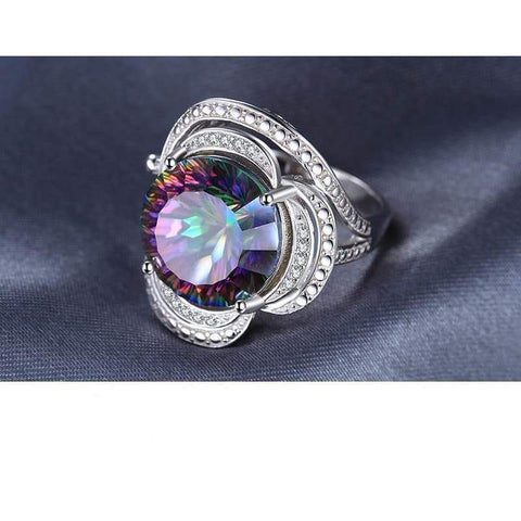 Rainbow Fire Mystic Vintage Charm Topaz Ring 925 Sterling Silver-JP_RINGS-JEFAMO