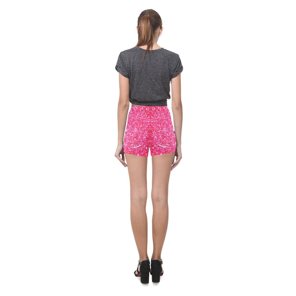 Red Glitter All-Over Skinny Shorts-Leggings-JEFAMO