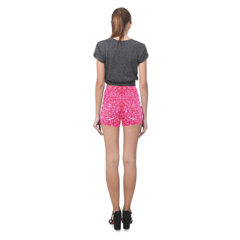 Image of Red Glitter All-Over Skinny Shorts-Leggings-JEFAMO
