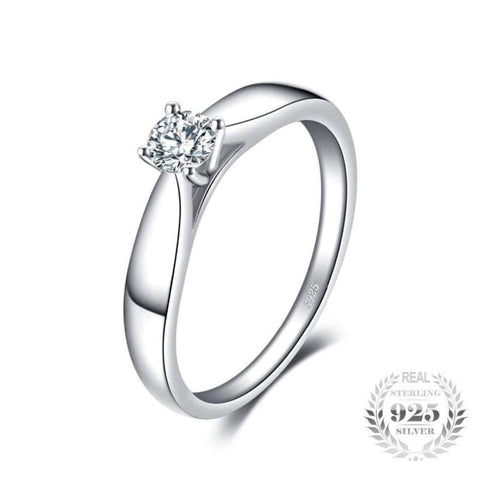 Rhodium Plated Solitaire Ring 925 Sterling Silver-JP_RINGS-JEFAMO