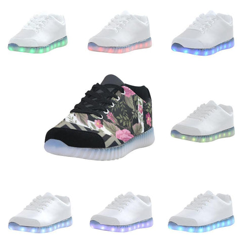 Rose Print Design 1 Light Up Casual Men's Shoes-Light Up Shoes-JEFAMO