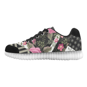 Rose Print Design 1 Light Up Casual Women's Shoes