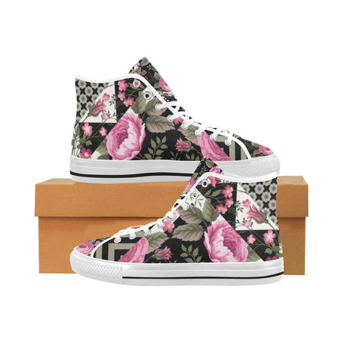 Rose Print Design 1 Vancouver High Top Canvas Men's Shoes-Canvas Shoes-JEFAMO