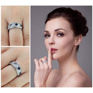 Round Created Blue Sapphire Cocktail Band Ring 925 Sterling Silver