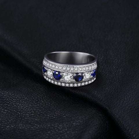 Round Created Blue Sapphire Cocktail Band Ring 925 Sterling Silver-JP_RINGS-JEFAMO