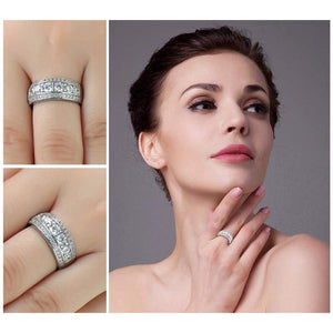Round Cubic Zirconia Cocktail Band Ring 925 Sterling Silver