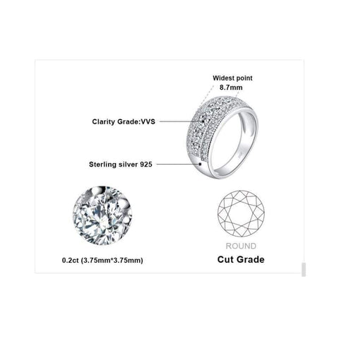 Round Cubic Zirconia Cocktail Band Ring 925 Sterling Silver-JP_RINGS-JEFAMO