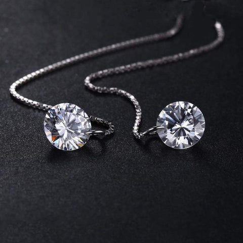 Round Cubic Zirconia Linked Earrings 925 Sterling Silver-JP_EARRINGS-JEFAMO