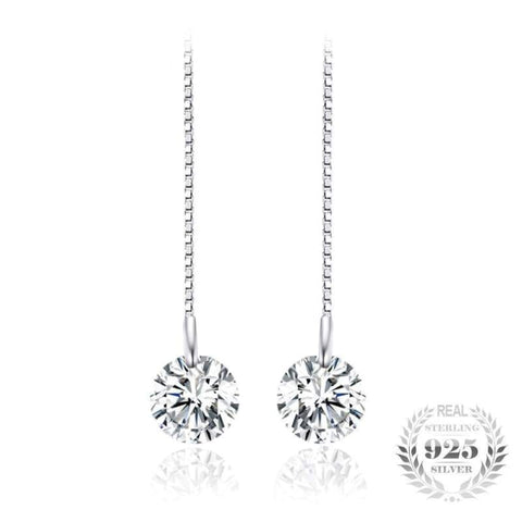 Image of Round Cubic Zirconia Linked Earrings 925 Sterling Silver-JP_EARRINGS-JEFAMO