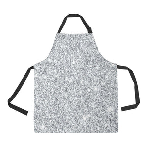 Silver Glitter All Over Print Adjustable Apron
