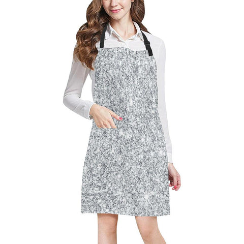 Silver Glitter All Over Print Adjustable Apron-Aprons-JEFAMO