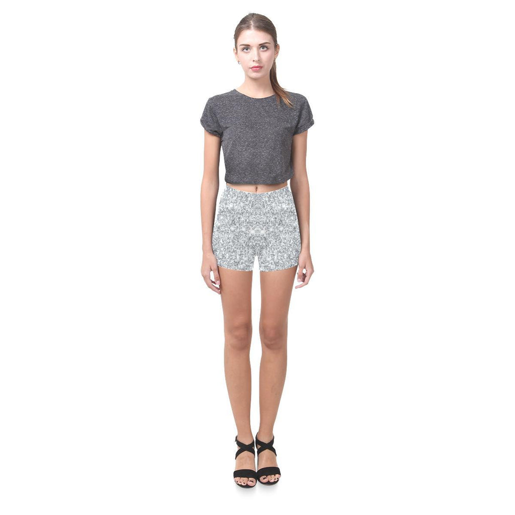 Silver Glitter All-Over Skinny Shorts-Leggings-JEFAMO